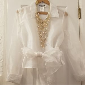 RONNI NICOLE | Organza Embellished Wrapped Top